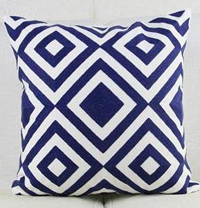 Navy Blue Embroidery Geometric Pattern Cushion Covers