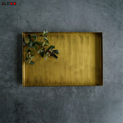 Elegant Rectangular Iron Bronze/Matte Gold Serving Tray (Variants)