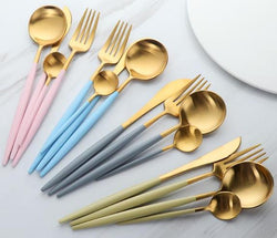 Matte Gold Finish Dinnerware Set/4 (Color Variants)