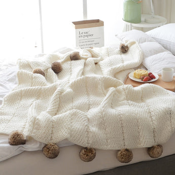 Knitted Faux Furry Pompon Blanket / Throw