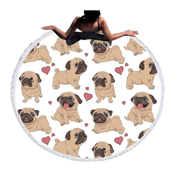 'Pug' Round Beach Towel / Yoga Mat