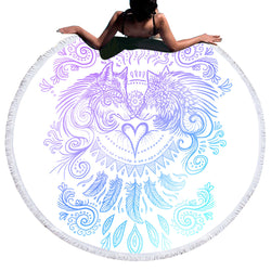 Wolves Round Beach Towel / Yoga Mat (2 colors)