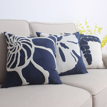 Coastal Embroidery Patterned Cushion Covers