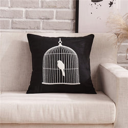 Black & White Embroidery Pattern Cushion Covers