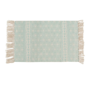 Geometric Mint Green Indian Rug / Carpet