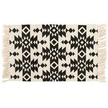 Geometric Indian Black & White Geometric Rug / Carpet