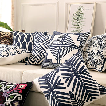 Coastal Navy & Blues Embroidery Geometric Pattern Cushion Covers