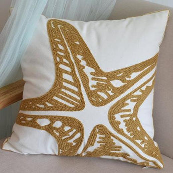 Coastal Embroidery Geometric Pattern Cushion Covers
