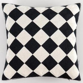 Black & White Embroidery Geometric Pattern Cushion Covers