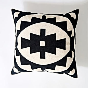 Black & Ivory White Embroidery Geometric Pattern Cushion Covers