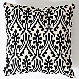 Black & Ivory White Embroidery Abstract Pattern Cushion Covers