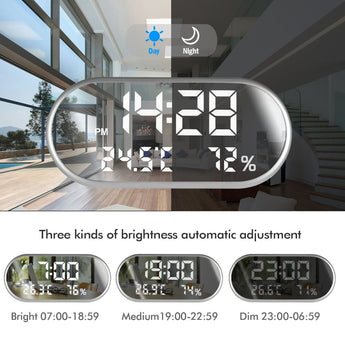 LED Digital Alarm Clock Mirror (Time/Humidity/Temperature/Display Function and USB Port Charging)