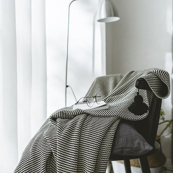 Cotton Knitted Tassel Blanket