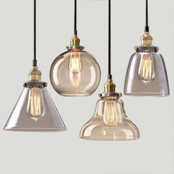 Retro / Vintage Light Bulb Pendant - Clear Or Copper Glass - - Lighting