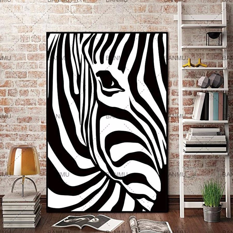 Scandinavian Zebra Stripes - Unframed - - Wall Accents