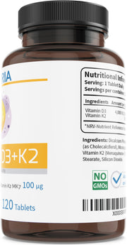 Vitamin D3 + K2 4000 IU 120 tablets VIGORIA