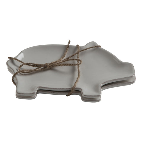 Farmhouse Pig Appetizer Plates ~ Set of 2 ~ RedRiverIron.com