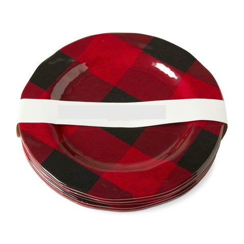 Buffalo Plaid Melamine Dessert or Salad Plates ~ Set of 4 Lodge Decor ~ RedRiverIron.com