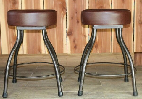 Farmhouse Bar Stool ~ Comfortable and sturdy bar stools, perfect for any kitchen, dining or bar area. Wide leg construction helps stabilize to prevent tipping. Vinyl padded seat for easy cleanup. Simple design is the perfect addition your farmhouse decor. RedRiverIron.com