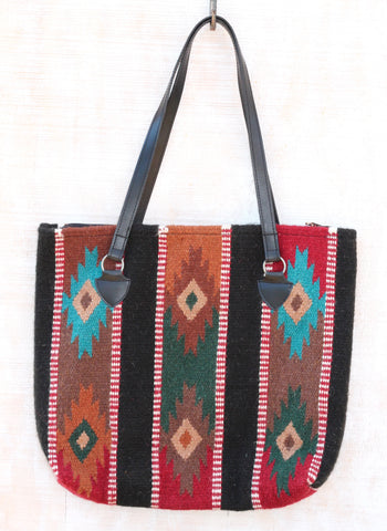 Taos Southwest Wool Handbag ~ Handwoven 100% Wool Handbag. Stylish southwest print featuring bright colors: red, turquoise, brown, black and gold. from RedRiverIron.com