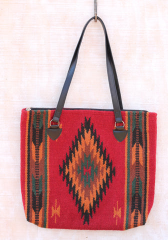 Santa Fe Southwest Wool Handbag ~ Handwoven 100% Wool featuring your favorite, rich southwest colors: deep red, green, orange and black.  ~ RedRiverIron.com