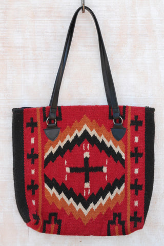 Santa Cruz Southwest Wool Handbag ~ Handwoven 100% Wool. Vibrant Colors: Red, Black, White and Gold. | RedRiverIron.com