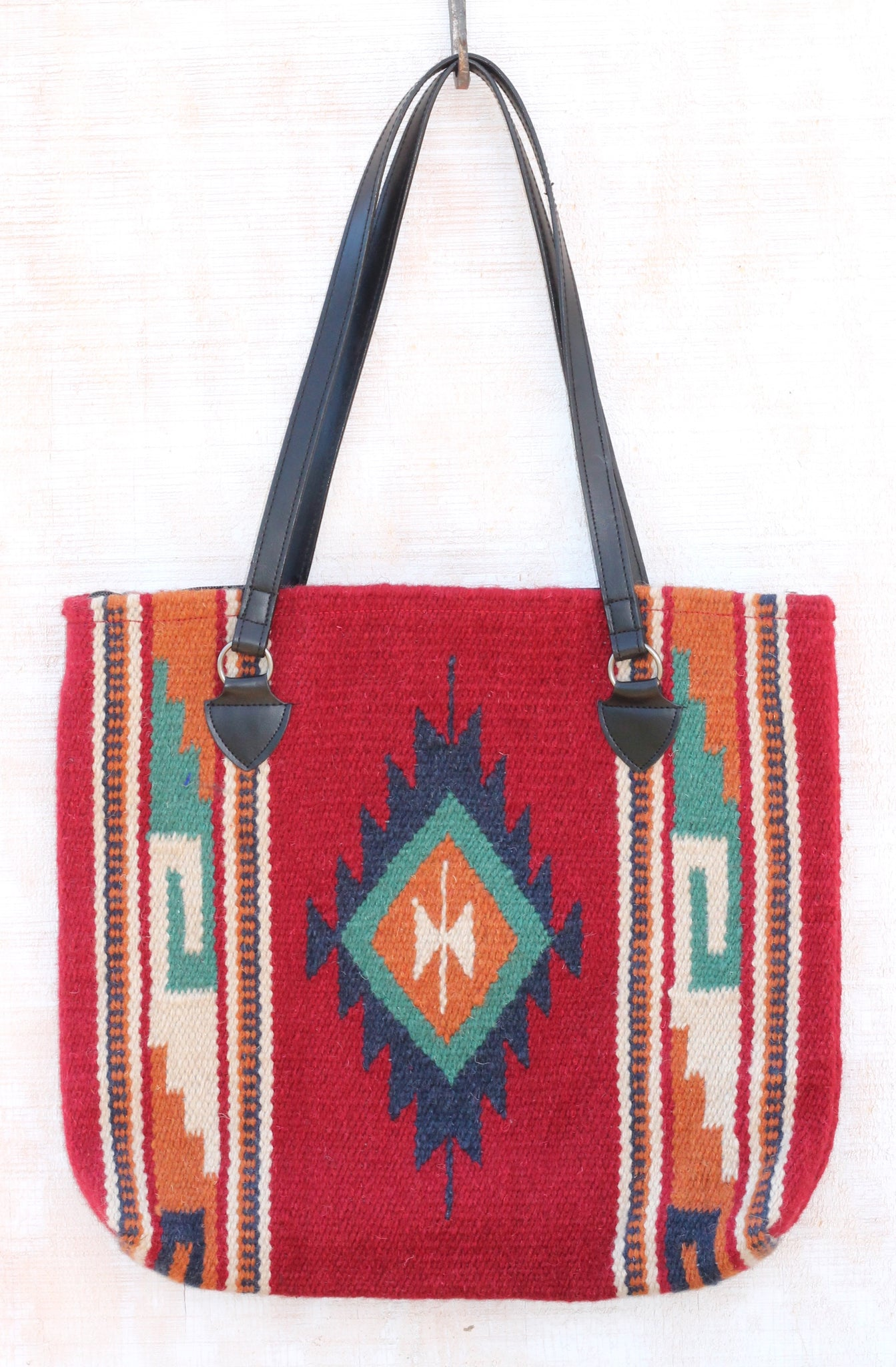 San Marcos Southwest Handbag ~ Handwoven 100% Wool. Vibrant colors: Red, Turquoise, Orange, White and Navy are the perfect compliment to any wardrobe.