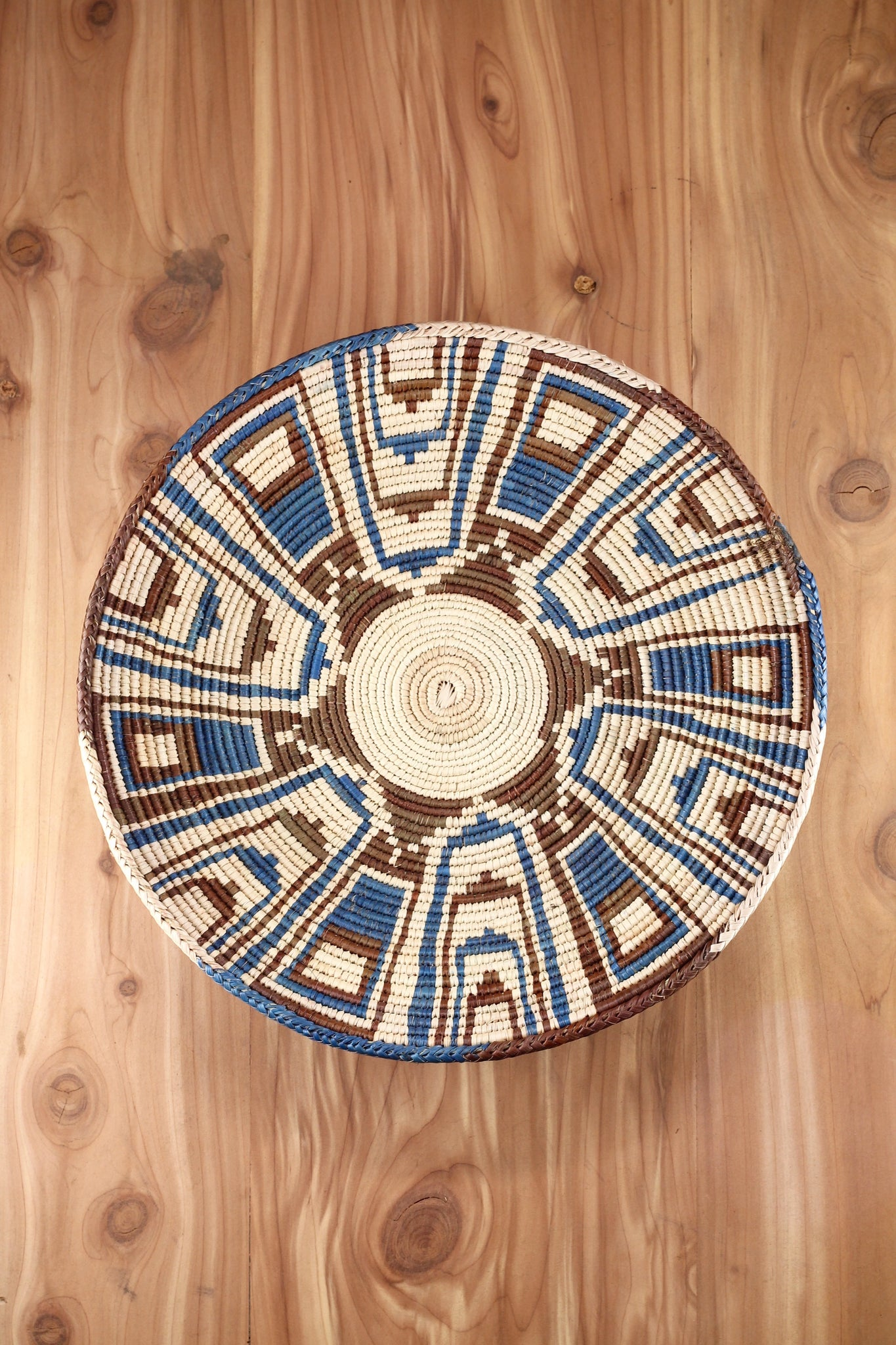 Southwest Basket ~ Handcrafted from tightly woven palm leaves. Blue and Brown Tribal Design.   Perfect for storing treasures and trinkets or adds southwest flair to any room as a centerpiece or wall art.  FREE SHIPPING RedRiverIron.com