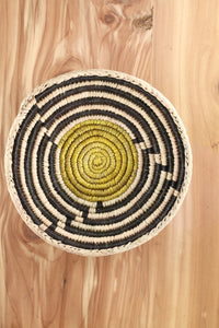 Southwest Basket ~ Handcrafted with tightly woven palm leaves. Southwest maze design in yellow and black.   Perfect for storing trinkets, jewelry and favorite items. Also makes a nice accent piece for any room.  FREE SHIPPING RedRiverIron.com