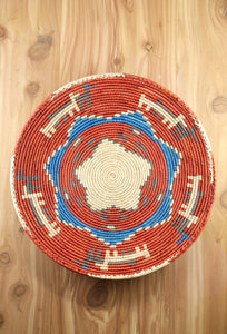 Southwest Basket ~ Handcrafted from tightly woven palm leaves with Orange and Blue star designs.   Great for displaying trinkets, as a centerpiece or as southwest decorative wall art. FREE SHIPPING RedRiverIron.com