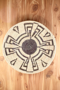 Southwest Basket ~ Handcrafted from tightly woven palm leaves. Brown Peru design.   Perfect for displaying trinkets or as a southwest centerpiece and can be displayed by as a wall hanging.  FREE SHIPPING RedRiverIron.com