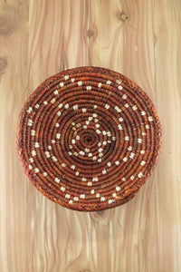Southwest Basket ~ Handcrafted with tightly woven palm leaves. Perfect for storing small items and jewelry. Also makes a great accent piece. Vibrant orange colors. FREE SHIPPING RedRiverIron.com