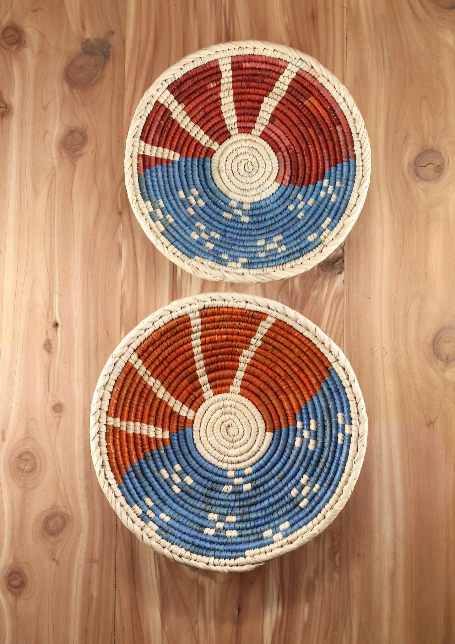 Southwest Baskets ~ Handcrafted with tightly woven palm leaves. Red/Orange, White and Blue design.  Set of 2.   Perfect for jewelry and trinkets.  FREE SHIPPING RedRiverIron.com