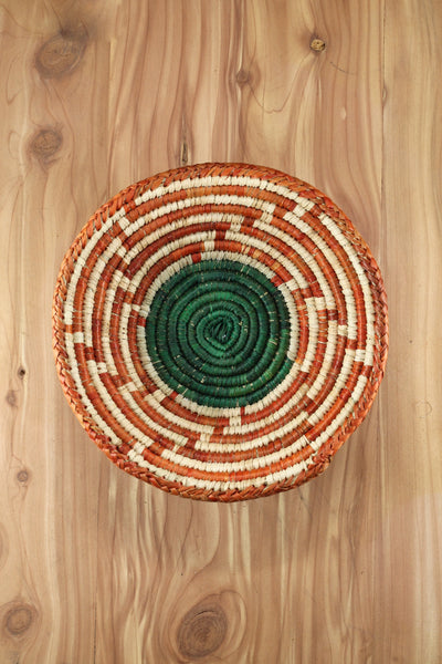 Southwest Basket ~ Handcrafted with tightly woven palm leaves. Southwest maze design in yellow and black or orange and green.  Perfect for storing trinkets, jewelry and favorite items. Also makes a nice accent piece for any room. RedRiverIron.com FREE SHIPPING