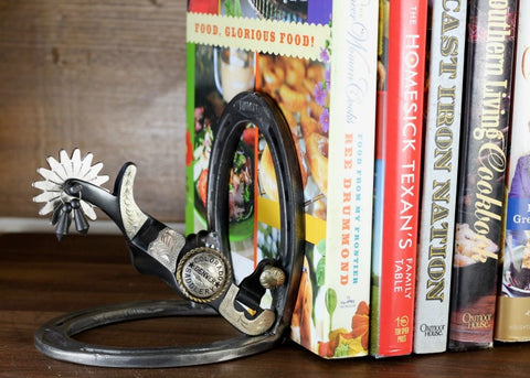 Western Spur Bookends made with authentic horseshoes and real cowboy jingle bob spurs. The perfect western accent for your home or office. ~ RedRiverIron.com