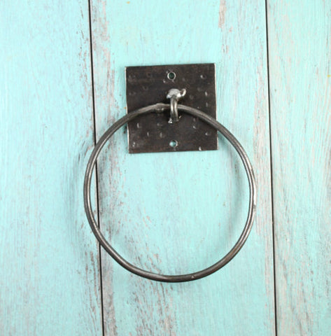 Twisted metal hand towel ring. Perfect for any bathroom or kitchen sink. Hand crafted wrought iron. Polished metal finish. RedRiverIron.com