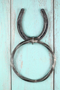 Horseshoe Twisted Towel Ring will give the perfect western edge to your kitchen or bathroom. Made with an authentic horseshoe and twisted metal. RedRiverIron.com