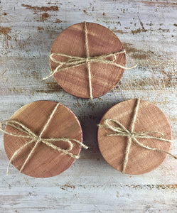 Cedar Coaster Set ~ Set of 4 Eastern Red Cedar Coasters. Save your furnishings with these all natural cedar coasters.