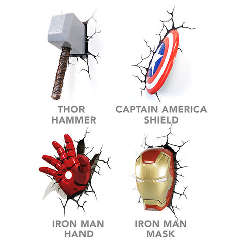 3d marvel avengers led creative wall lamp consumer lights 3d deco superhero wall light roll call aloadofball Images