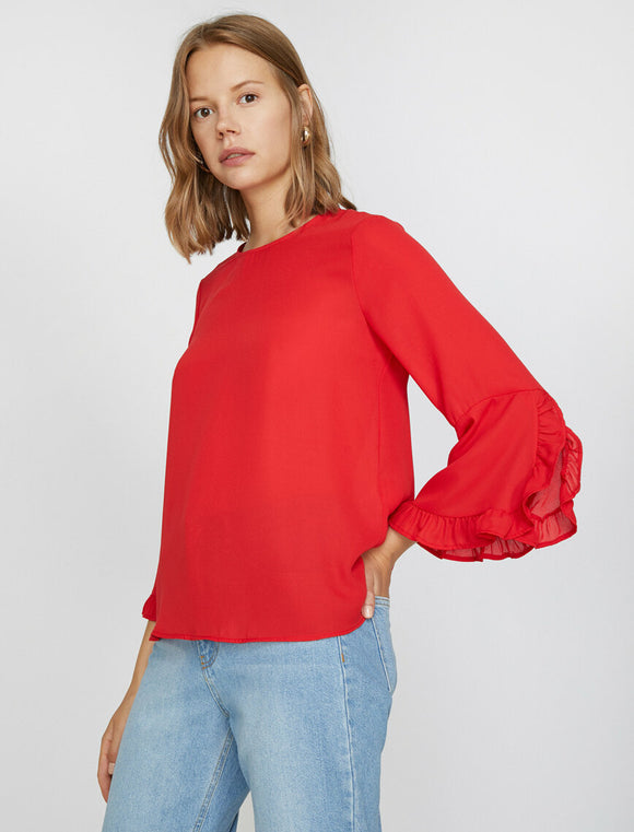 14867 red frill detail sleeve blouse