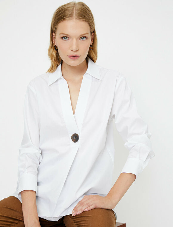 14862 off white shirt collar blouse
