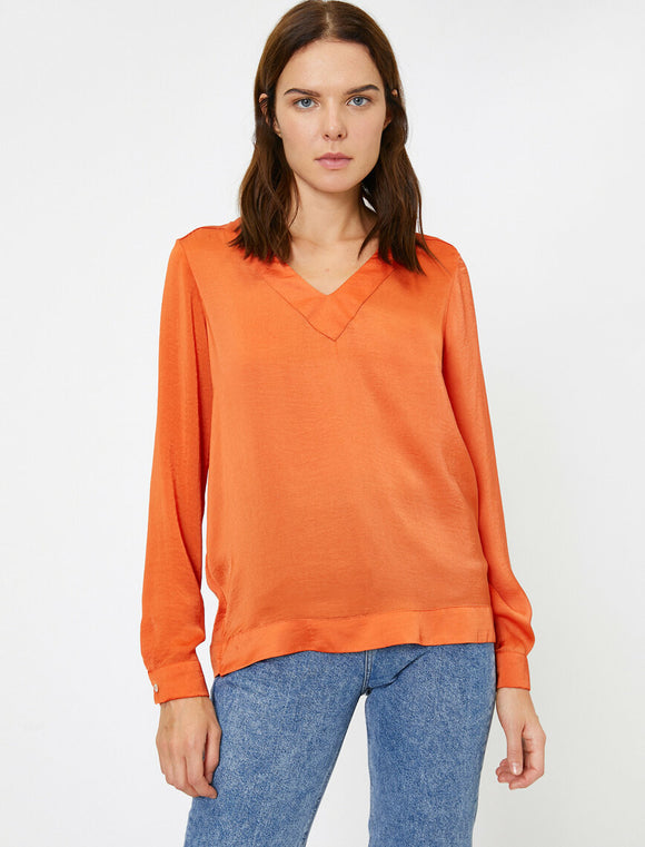 14844 orange v neck blouse