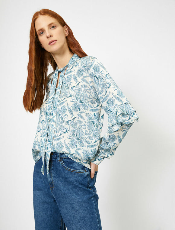 14864 blue frill detail blouse