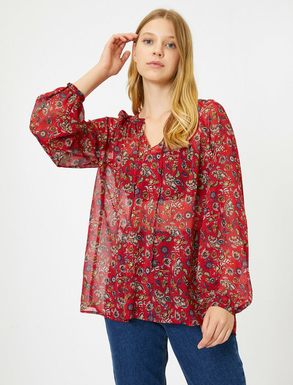14861 red patterned sheer sleeve blouse