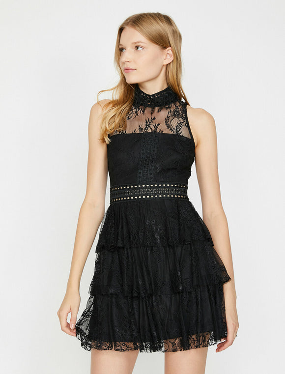 15160 black tiered lace dress