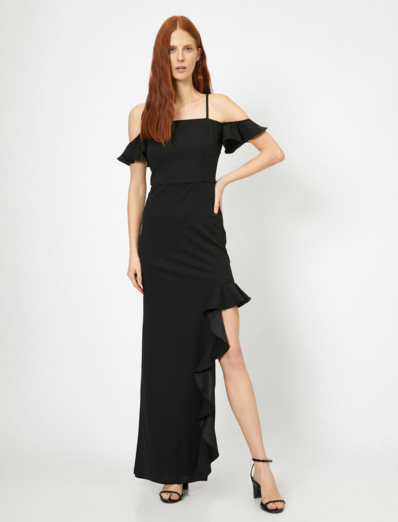 15168 black ruffle slit dress