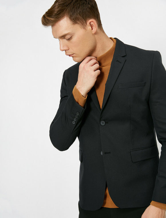 17543 Black Button Detailed Jacket