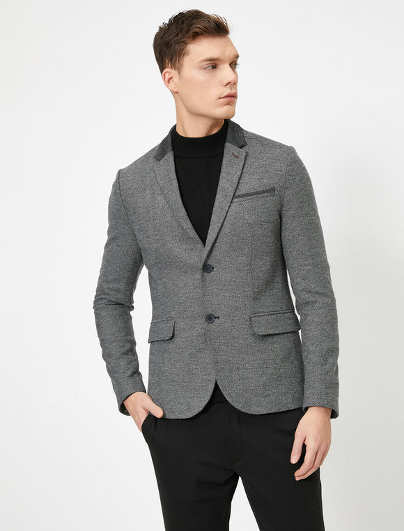 17549 Grey Button Detailed Jacket