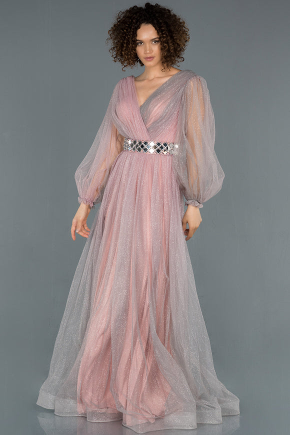18386 Pink Balloon Sleeve Shimmer Tulle Evening Gown