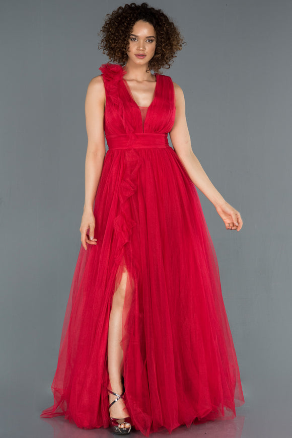18400 Red Ruffle Detail Tulle Slit Princess Dress
